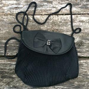 """Handbags - Black 7"""" x 8"""" Shoulder Bag Rhinestone Bow"""
